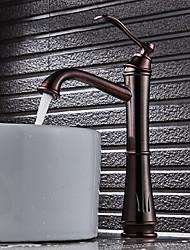 Art Déco/Rétro Set de centre Séparé Soupape céramique Mitigeur un trou Bronze huilé , Robinet lavabo