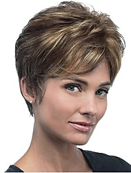 cheap -Synthetic Wig Straight Pixie Cut Synthetic Hair Highlighted / Balayage Hair Brown Wig Women's Short Capless
