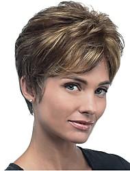 abordables -Pelucas sintéticas Recto Corte Pixie Pelo sintético Pelo reflectante / balayage Marrón Peluca Mujer Corta Sin Tapa