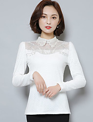 cheap -Women's Polyester T-shirt - Solid, Lace Shirt Collar