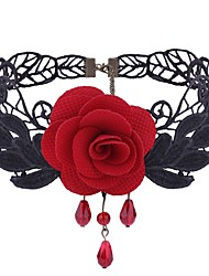 cheap -Women's Flower Synthetic Amethyst Lace Choker Necklace  -  Fashion Sweet Black Red Necklace For Daily