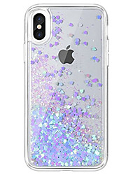 cheap -For iPhone X iPhone 8 iPhone 7 Case Cover Flowing Liquid Transparent Back Cover Case Glitter Shine Hard Acrylic for Apple iPhone X iPhone