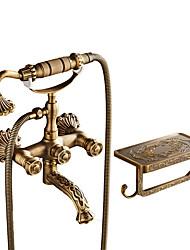 Clássica Conjunto Central Separada Válvula Cerâmica Duas alças de dois furos Cobre Envelhecido , Torneira de Chuveiro