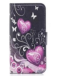 Недорогие -Кейс для Назначение Apple iPhone X / iPhone 8 / iPhone 8 Plus Кошелек / Бумажник для карт / со стендом Чехол С сердцем / Цветы Мягкий Кожа PU для iPhone X / iPhone 8 Pluss / iPhone 8