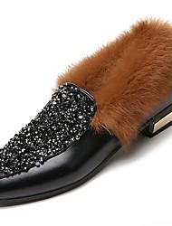 Femme Chaussures Polyuréthane Hiver Confort Mocassins et Chaussons+D6148 Talon Bas Bout pointu Strass pour Décontracté Noir Marron