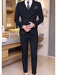 Masculino Ternos/Conjuntos Wear to work Trabalho Simples Primavera Outono,Sólido Padrão Algodão Poliéster Notch/ Paletó Manga Longa