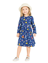 cheap -Girl's Daily Holiday Dress, Cotton All Seasons Long Sleeves Cute Casual Navy Blue