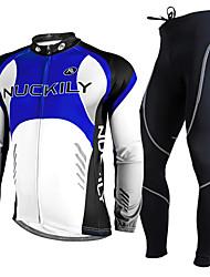 Nuckily Fahrradtrikots mit Fahrradhosen Herrn Langarm Fahhrad Kleidungs-Sets warm halten UV-resistant Atmungsaktiv 3D Pad Komfortabel