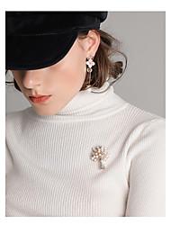 baratos -Mulheres Broches , Básico Fashion Imitação de Pérola Liga Árvore da Vida Dourado Jóias Para Diário Para Noite