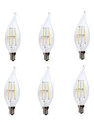 abordables -GMY® 6pcs 2W 200lm E12 Ampoules à Filament LED CA10 2 Perles LED COB Intensité Réglable Décorative Lampe LED Blanc Chaud 110-130V