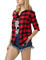 cheap -Women's Holiday Street chic Cotton Shirt - Plaid Shirt Collar