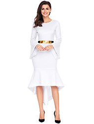 cheap -Women's Party Going out Street chic Sheath Dress,Solid Round Neck Asymmetrical Long Sleeve Polyester Elastane Winter High Waist