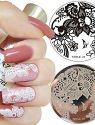 economico -1pc nail art timbro modello arabesque flower design 5.5cm round image plate