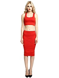 cheap -Women's Daily Going out Vintage Casual Street chic Bodycon Sheath Two Piece Dress,Solid U Neck Midi Sleeveless Rayon Polyester All Season