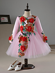 cheap -A-Line Knee Length Flower Girl Dress - Lace Satin Long Sleeves Jewel Neck with Flower(s) by LAN TING BRIDE®