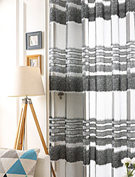 cheap -Grommet Top Double Pleat Pencil Pleat Curtain Casual Stripe Polyester Material Sheer Curtains Shades Home Decoration