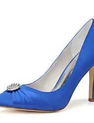 preiswerte -Damen Schuhe Satin Frühling Sommer Pumps Hochzeit Schuhe Stöckelabsatz Spitze Zehe Strass für Hochzeit Party & Festivität Weiß Blau