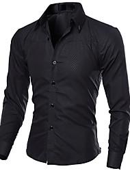 Недорогие -Муж. Рубашка Тонкие Деловые Однотонный