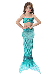 cheap -The Little Mermaid Skirt Kid Halloween Festival / Holiday Halloween Costumes Green Blue Pink Golden Fuchsia Mermaid