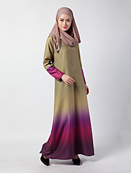abordables -Ethnique et Religieux Jalabiya Robe caftan Abaya Robe Arabe Femme Fête / Célébration Déguisement d'Halloween Orange Vert Bleu Fuschia