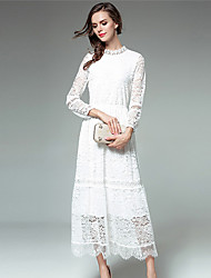 cheap -Women's Daily Casual Lace Dress,Solid Round Neck Maxi Long Sleeve Polyester Spring Fall Mid Rise Inelastic Thin