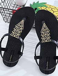 cheap -Women's Shoes Rubber Summer Comfort Sandals Flat Heel Open Toe for Casual Black Brown