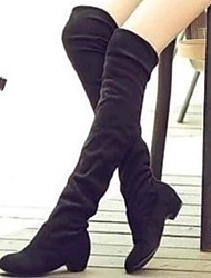 Women's Shoes Nubuck leather Winter Fall Slouch Boots Boots Low Heel Round Toe Knee High Boots for Casual Black Brown Blue
