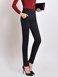 Damer Simple Elastisk Skinny Bukser,Højtaljede Bomuld Ensfarvet Vinter