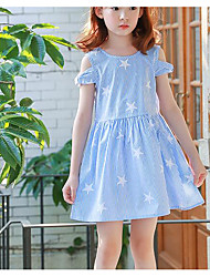 cheap -Girl's Holiday Striped Dress,Polyester Summer Short Sleeve Simple Blue
