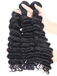economico -3 pacchetti Peruviano Molto ondulata Capello vergine Ciocche a onde capelli veri Tessiture capelli umani Estensioni dei capelli umani