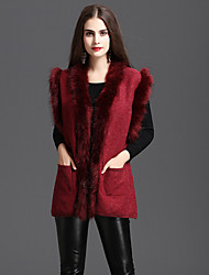 cheap -Women's Daily Sophisticated Winter Fall Vest,Solid V Neck Sleeveless Regular Faux Fur