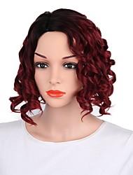 Недорогие -Парики из искусственных волос Естественные кудри Стрижка каскад Искусственные волосы Темные корни Красный Парик Жен. Короткие Без шапочки-основы