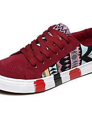 Feminino Sapatos Lona Primavera Outono Conforto Tênis Raso para Casual Preto Vermelho Azul