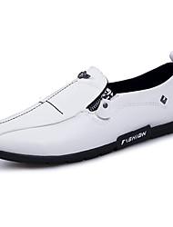 Недорогие -Муж. обувь Свиная кожа Весна Осень Удобная обувь Мокасины и Свитер для Повседневные Офис и карьера Белый Черный Оранжевый