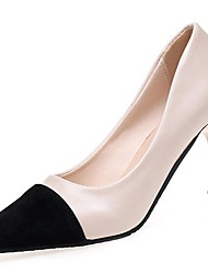 cheap -Women's Shoes PU Winter Fall Comfort Heels High Heel Pointed Toe for Casual Beige Black