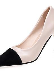 Недорогие -Для женщин Обувь Полиуретан Зима Осень Удобная обувь Обувь на каблуках Высокий каблук Заостренный носок для Повседневные Черный Бежевый