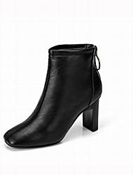 abordables -Femme Chaussures Polyuréthane Hiver Bottes à la Mode Bottes Talon Bottier Bottine / Demi Botte Boucle Noir / Marron