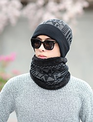 Men's Sweater Floppy Hat,Work Casual Print Winter Knitted Navy Blue Black