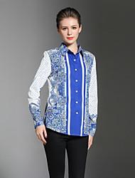 economico -Camicia Per donna Ufficio Stoffe orientali Con stampe Colletto
