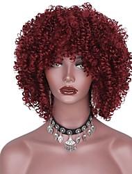 abordables -Pelucas sintéticas Afro Con flequillo Peluca afroamericana Rojo Mujer Sin Tapa Peluca natural Corta Pelo sintético