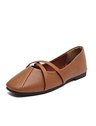 cheap -Women's Shoes Nappa Leather Spring Fall Comfort Flats Round Toe for Casual Black Beige Brown