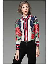 cheap -Women's Silk Shirt - Floral Shirt Collar
