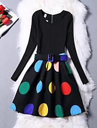 Menina de Vestido Diário Para Noite Sólido Poá Cores Variadas Inverno Outono Algodão Poliéster Manga Longa Vintage Fofo Princesa Preto