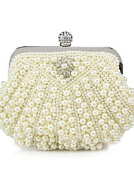 cheap -Women's Bags Silk Evening Bag Pearl Detailing for Event/Party All Seasons White Black Beige