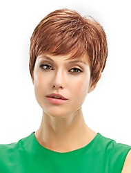 cheap -Women Human Hair Capless Wigs Medium Auburn Short Straight Pixie Cut With Bangs Side Part