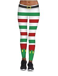 abordables -Disfraces de Santa Pantalones Mujer Navidad Festival / Celebración Disfraces de Halloween Blanco Amarillo Negro Gris Beige Patrón