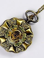 baratos -Crianças Casal Relógio Casual Relógio de Bolso Chinês Quartzo Gravação Oca Relógio Casual Lega Banda Luxo Casual Legal Dourada