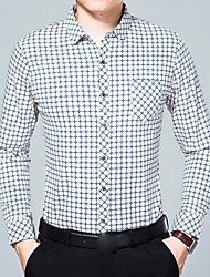 cheap -Men's Going out Casual/Daily Chinoiserie All Seasons Shirt,Print Shirt Collar Long Sleeve Linen Polyester Medium