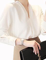 cheap -Women's Casual/Daily Work Street chic Summer Shirt,Solid V Neck Long Sleeve Cotton Polyester Medium