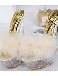 preiswerte -Damen Schuhe Beflockung PU Frühling Herbst Komfort Sandalen Keilabsatz für Normal Rosa Mandelfarben Königsblau